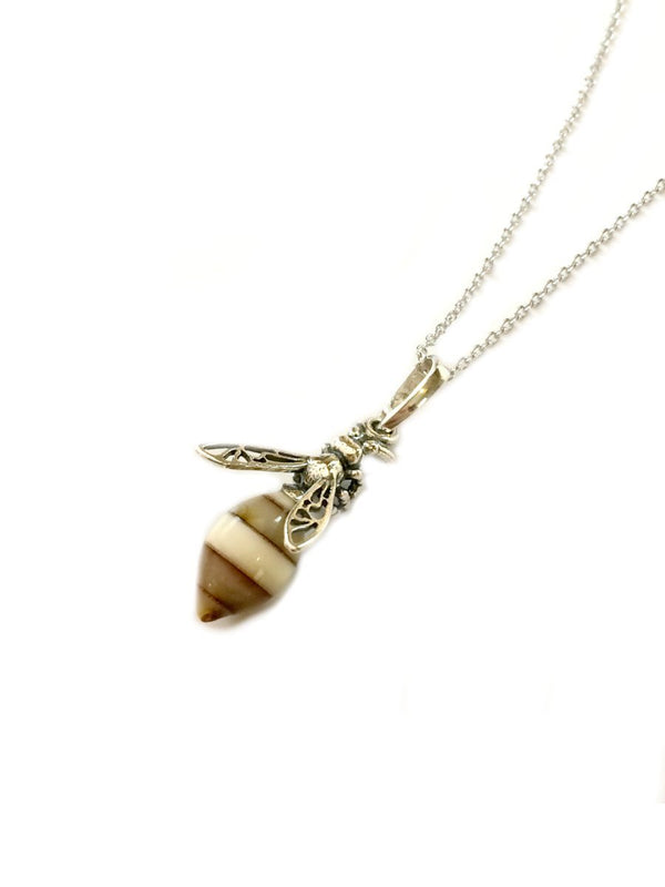 Amber Honeybee Pendant Necklace | Sterling Silver Chain | Light Years