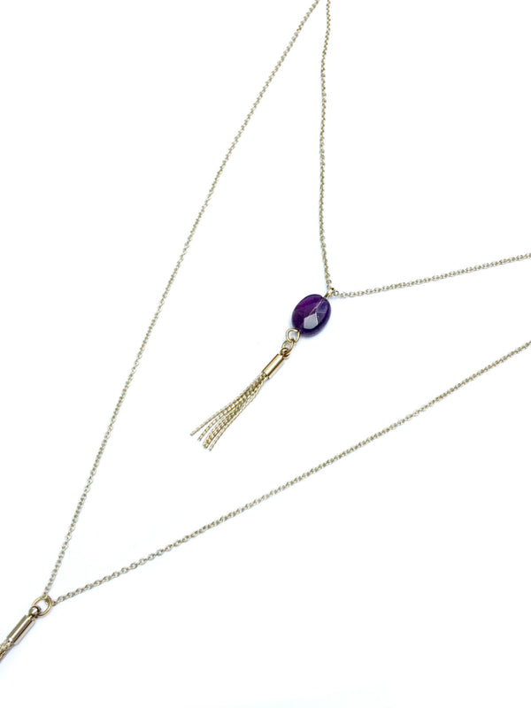 Layered Amethyst & Tassel Necklace | Gold Plated | Light Years Jewelry