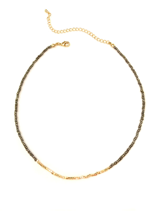 Seed Bead Choker | Silver Gold Fashion Necklace | Light Years Jewelry