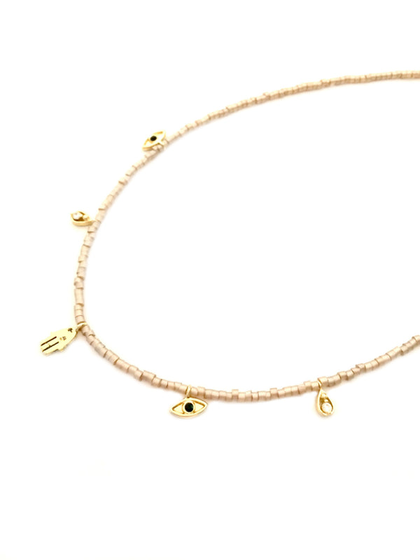 Beaded Charm Choker | Gold Fashion Necklace | Light Years Jewelry