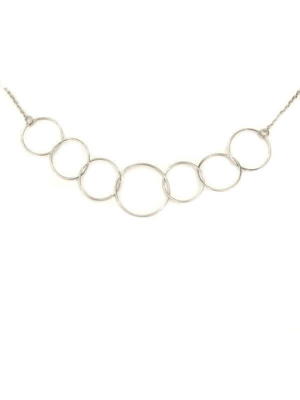 Light Linked Rings Necklace | Silver Plated Chain | Light Years Jewelry