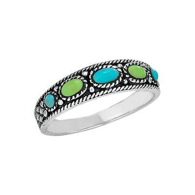 Turquoise and Gaspeite 5-Stone Ring, $21 | Sterling Silver | Light Years Jewelry