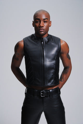 Ribbed Zipper Front Vest