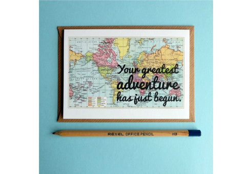 """Your greatest adventure has just begun"" card"