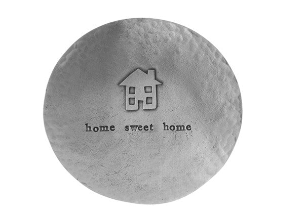"Quirky Coo - Pewter dish engraved with ""Home sweet home"" by Kutuu"