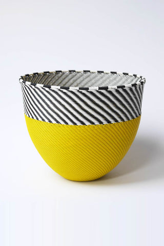 Large African Woven Cone Bowl - Yellow/Black