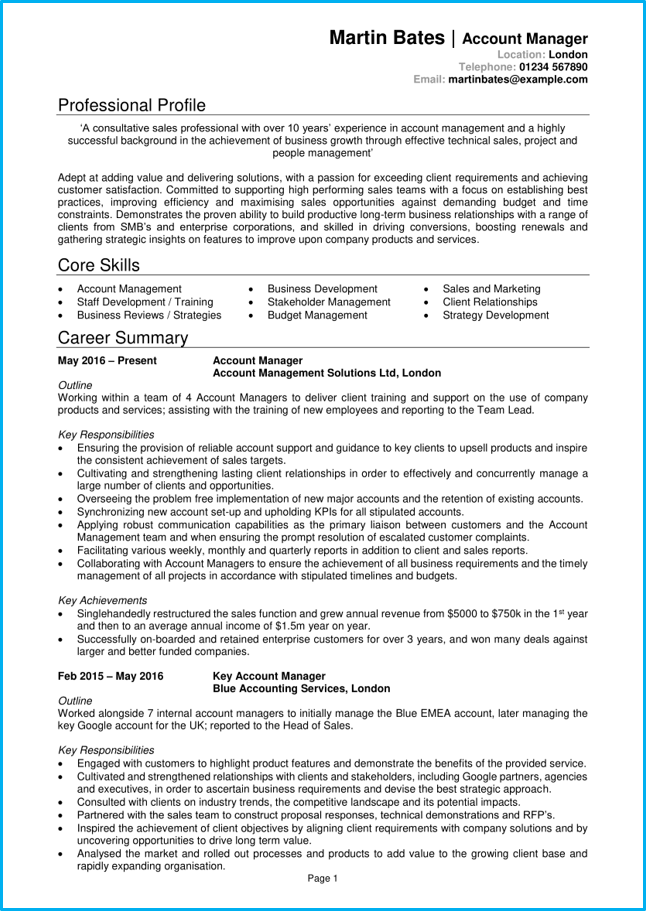 account manager cv example   writing guide  get noticed by employers