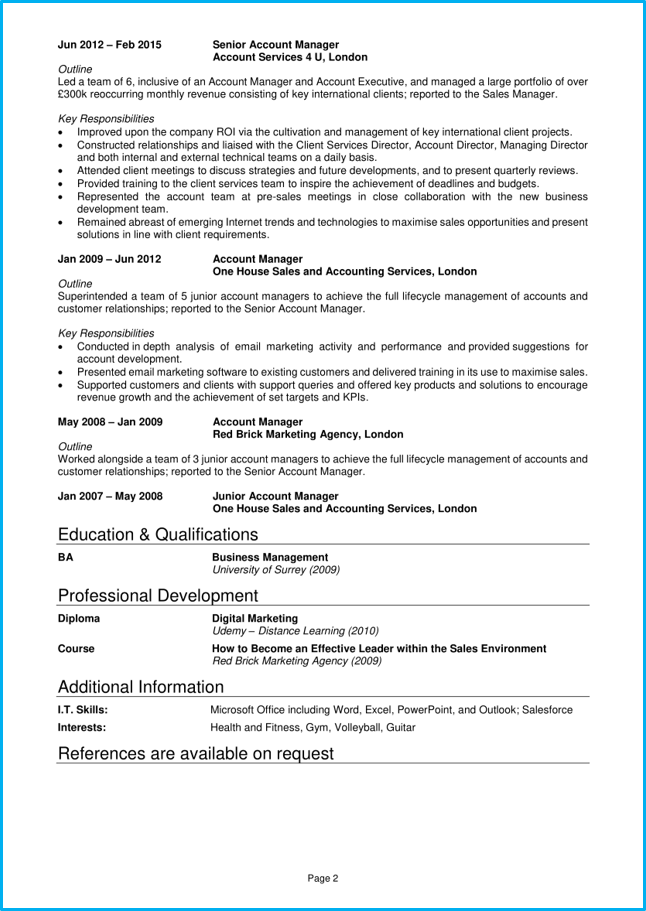 Account manager CV pg2