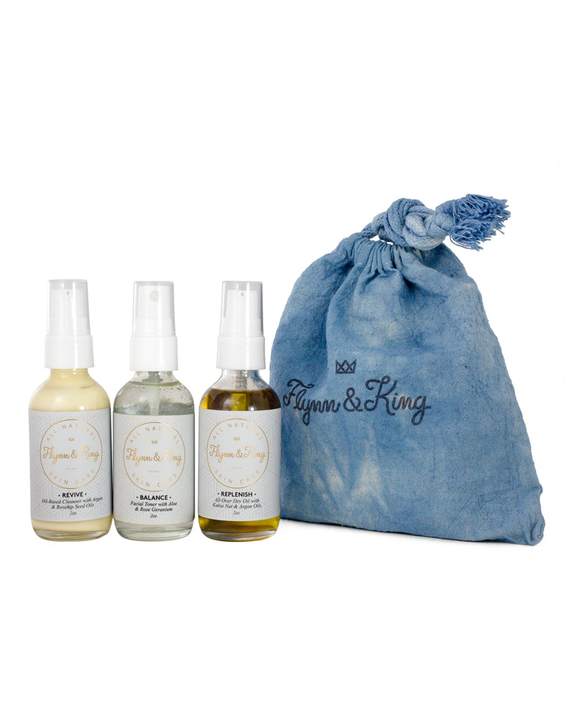 THE WEEKENDER SET - Travel-Size Skin Care Essentials in Hand-Dyed Indigo Cotton Bag