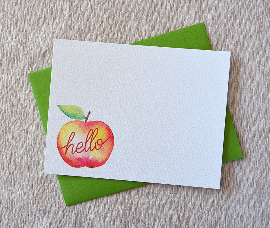 hello apple watercolor note card