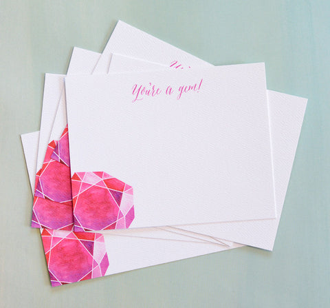 """You're a Gem"" Note Cards"