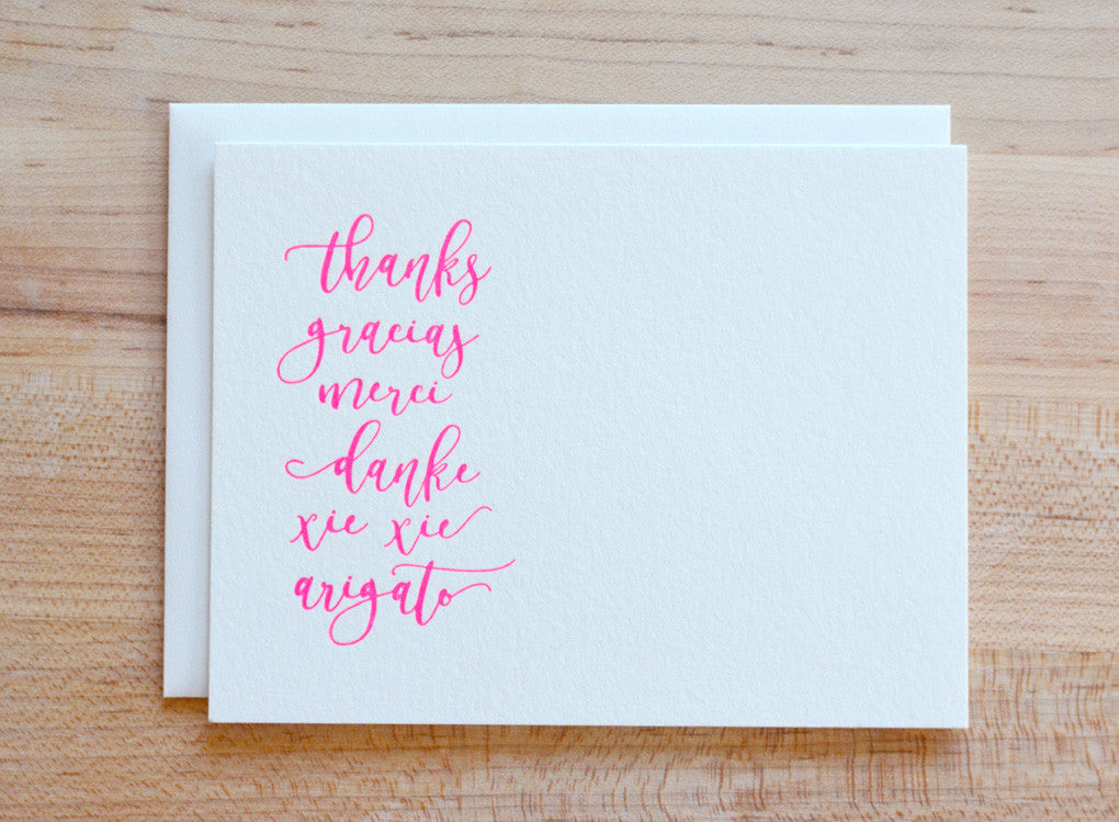 Letterpress Around the World Pink Thank You Note