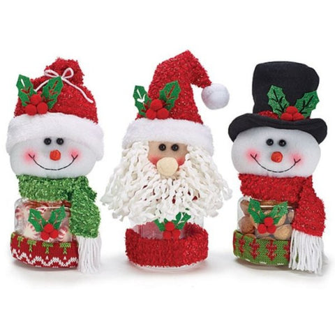Picture of Snowmen and Santa Acrylic Candy Jars - 3 Assorted