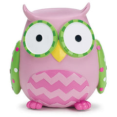 WHO'S CUTEST GIRL Pink Owl Resin Bank