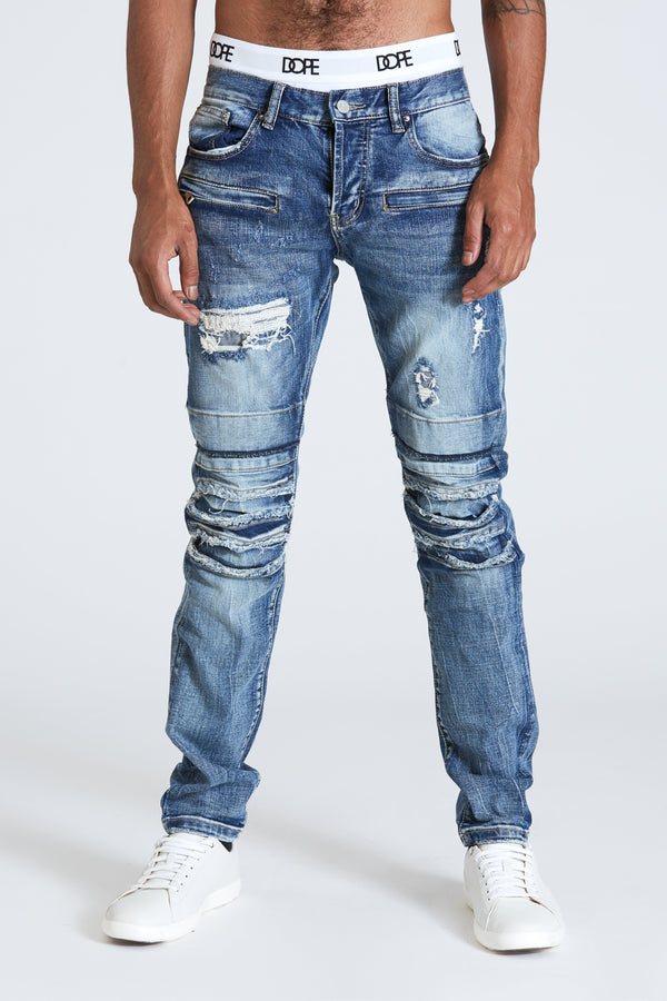 Dope weir moto denim #Dark Blue