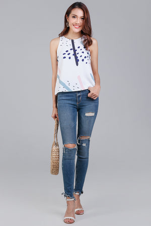 Backorder* Jubilee Graphic Top in White