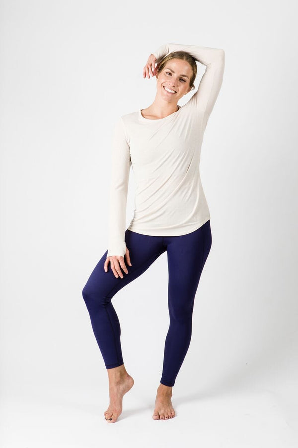 Merino Luxe Farrah Long Sleeve, Heather Oatmeal | Vie Active