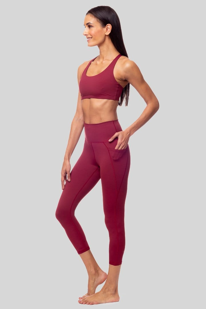 Lili 3/4 Legging, Burgundy | Vie Active