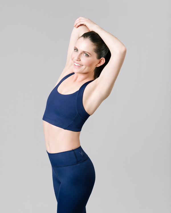 Gabrielle Racerback Sports Bra, Ink Blue | Vie Active