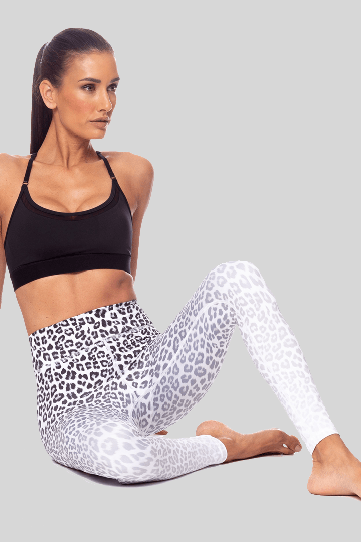 Rockell White Ombre Leggings 7/8, White Leopard | Vie Active
