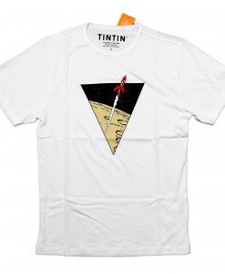 Destination Moon flare triangle - white t-shirt - 10% Discount on all t-shirts & Sweatshirts Free postage in the UK Free Sheet of Tintin stickers. Free Tintin giftbag..