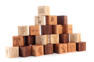 wooden picture alphabet blocks