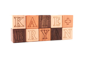 couples wedding name blocks, unique wedding decor