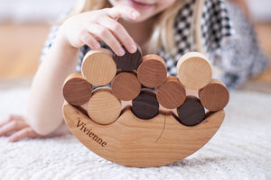 Smiling Moon Balancer handmade wood educational toy for open-ended play