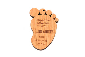 Personalized baby foot ornament