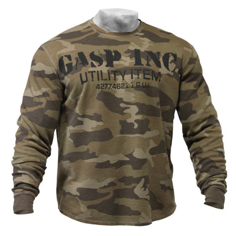 GASP THERMAL GYM SWEATER - CAMO - FRONT