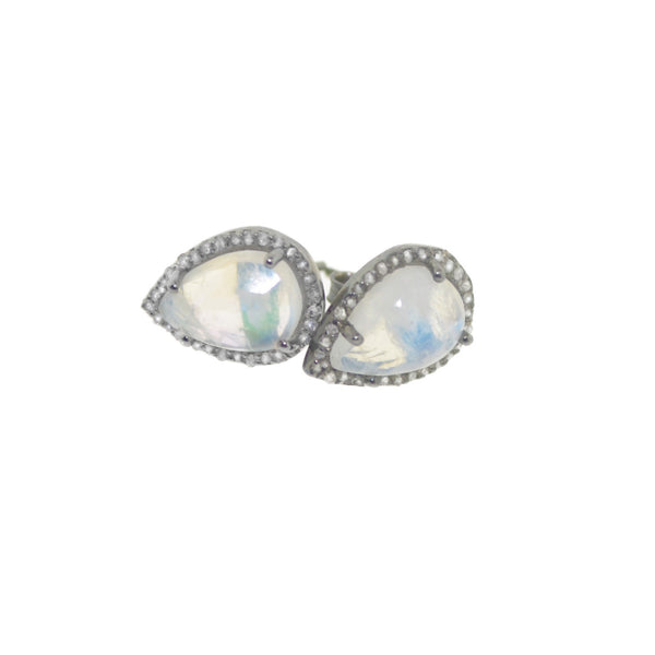 Pear Moonstone Diamond Studs