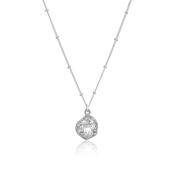 White Topaz Halo Necklace