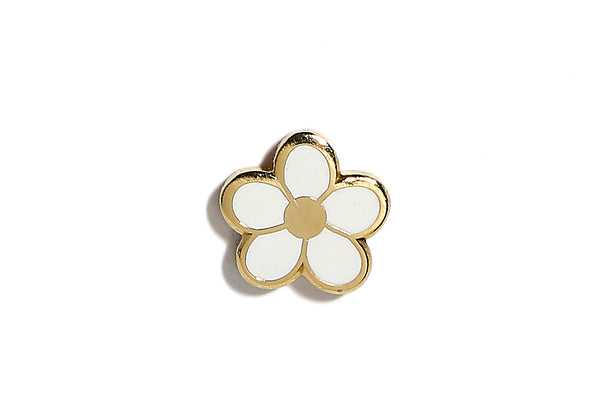 Mini Flower Pin - White and Gold