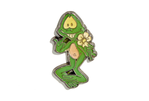 Vintage Frog With Flower Pin