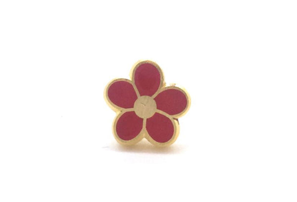 Mini Flower Pin - Red and Gold