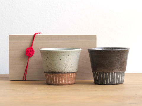 Ceramic cups (In a set of 2- White and Brown)