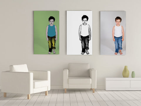 Mosaic canvas prints: 3 portrait canvases composition.