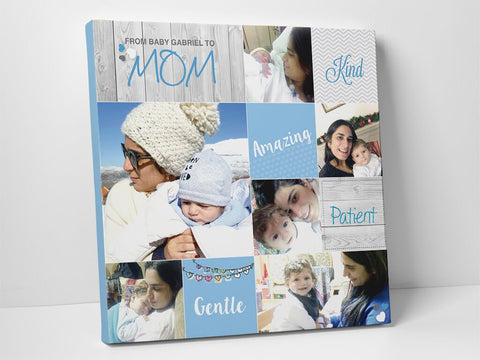 Baby boy & Mom lovely photo collage on high quality canvas.