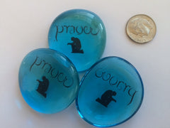 Worry/Prayer (Ambigram) Glass Stones (Set of 3)