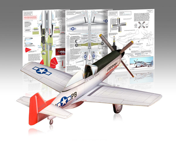 P-51 Mustang Paper Airplane Model Kit - Huntly's Paper Warplanes - 1