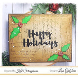 """Happy Holidays"" Brush Script Word & Sentiment Die by Kat Scrappiness"