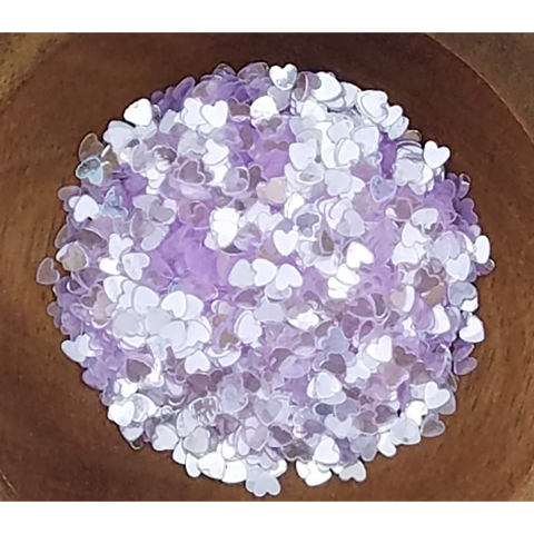 3mm Transparent Lilac Solid Heart Confetti - Sequins - Shaker Card Fillers - Kat Scrappiness