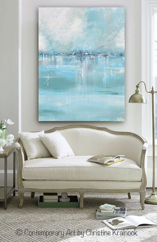 GICLEE PRINT Art Abstract Painting Coastal Wall Decor Sea ...