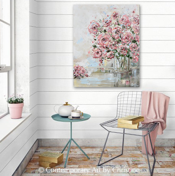 ORIGINAL Art Abstract Floral Painting Textured Pink Flowers Bouquet Roses Wall Decor 24x30""