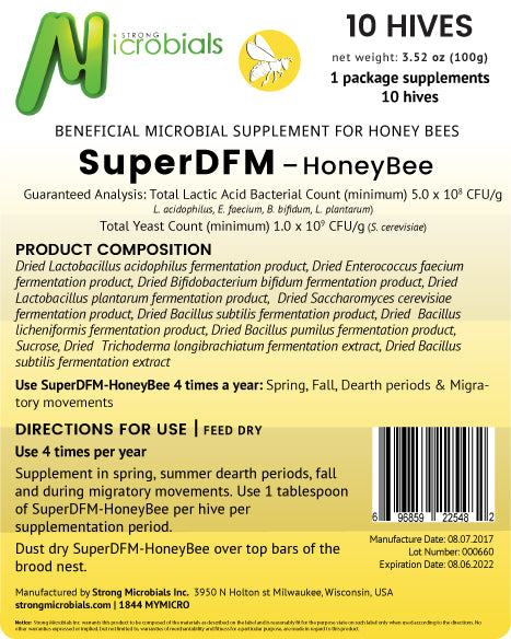 SuperDFM Honey Bee | 10 Hive Pack ($1.59/treatment)
