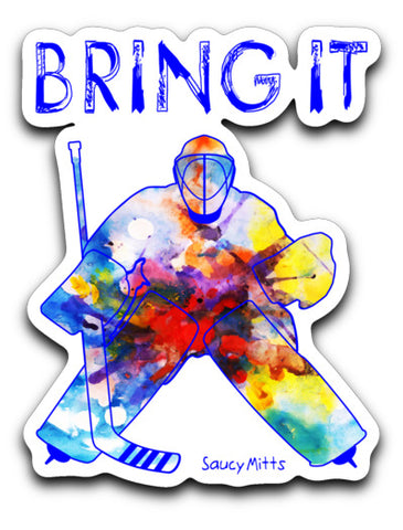 Bring It Hockey Goalie Watercolor Decal