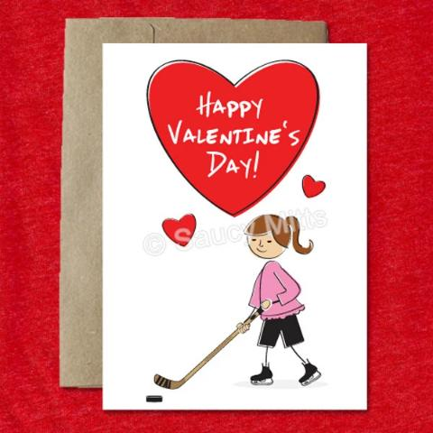 Cartoon Girl Hockey Valentine's Card