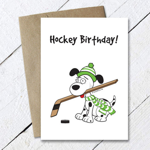 Hockey Birthday Dog Card