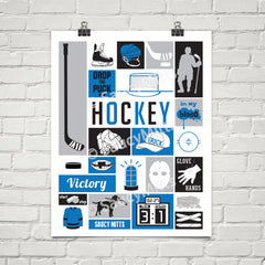 my game hockey poster print blue