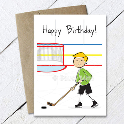 Kids Hockey Cartoon Birthday Card